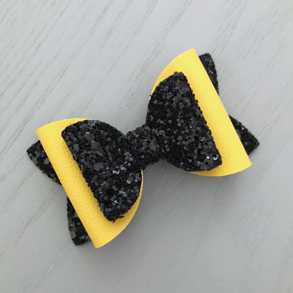 Charlotte Bow - Yellow & Black Glitter