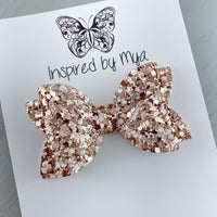 Alani Bow - Rose Gold & White Glitter