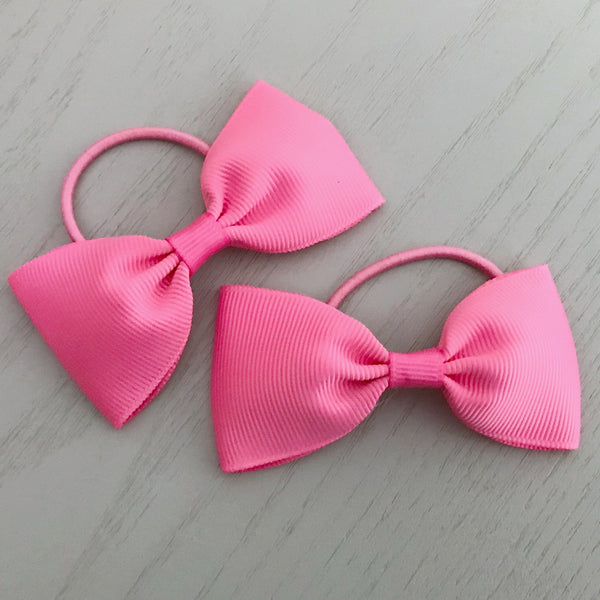 Elastic Bow Piggy Pair - Pink