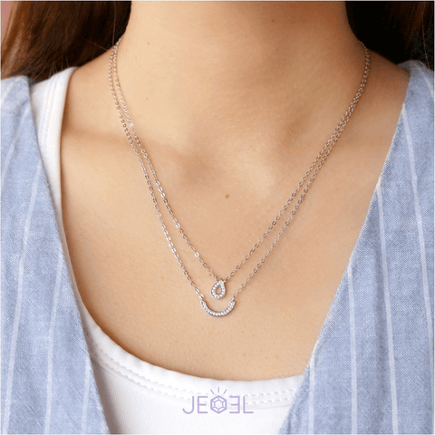 Glitter Waterdrop Double Necklace