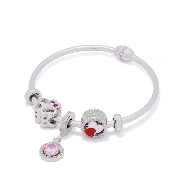 Sparkle Heart Bangle Set - JEOEL