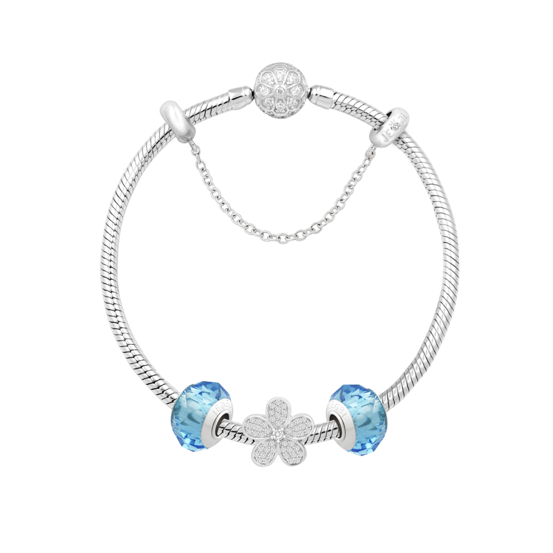 Crystal Flower Bracelet Set - JEOEL
