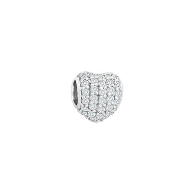 Small Heart Pave (Blue Topaz) Bead - JEOEL