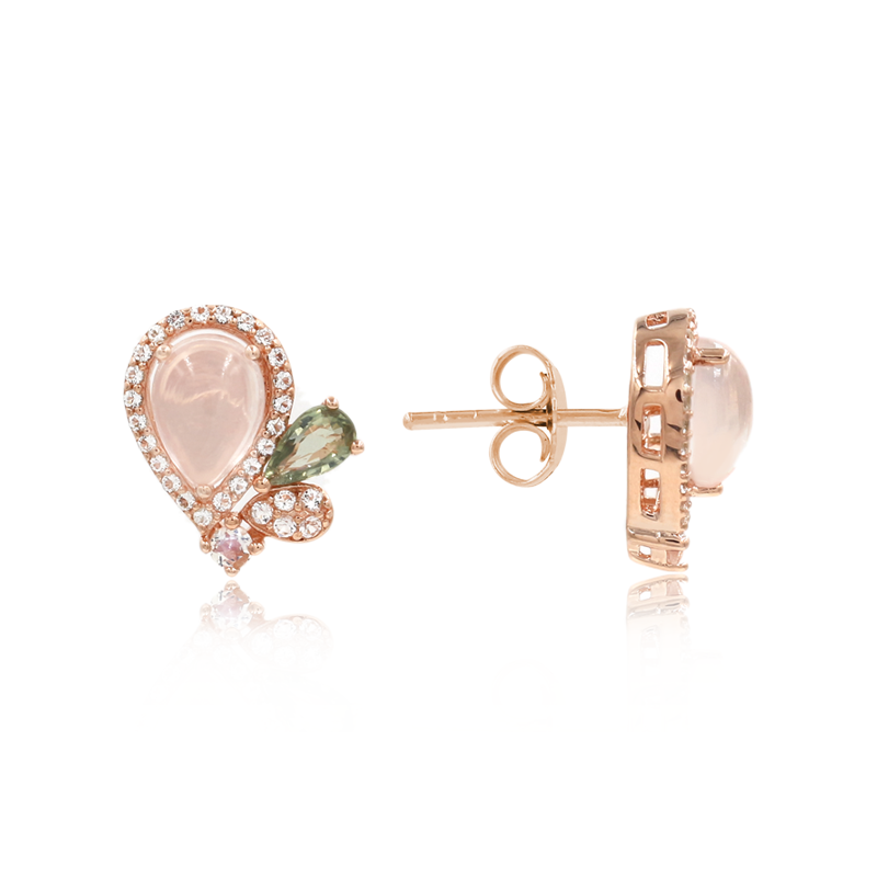 Rose Quartz Galaxy Earrings - JEOEL
