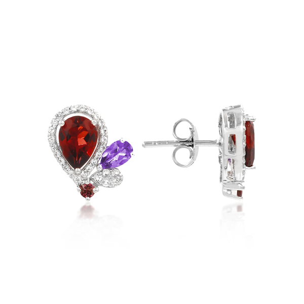 Garnet Galaxy Pendant + Earrings Set - JEOEL