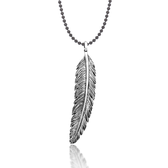 Huia Feather Pendant + Long Huia Chain - JEOEL