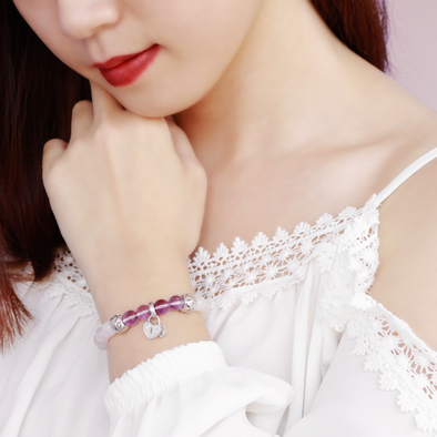 Double Love Lock Rose Quartz Bracelet Set - JEOEL