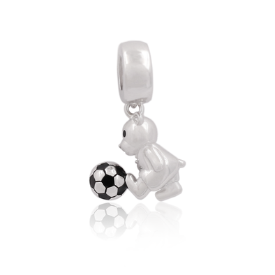 Football Bear Charm Bead