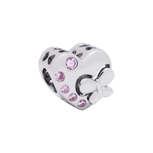 Pink Fly Heart Bead - JEOEL