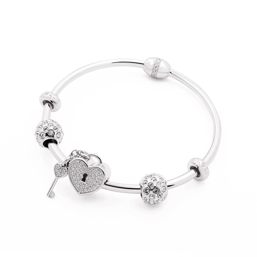 Heart Key Twinkle Bangle Set - JEOEL