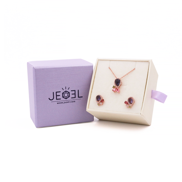 Iolite Galaxy Pendant + Earrings Set - JEOEL