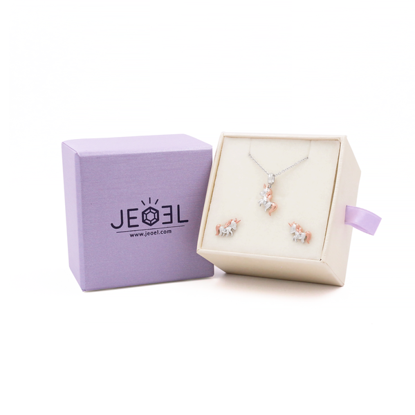 Unicorn Diamond Pendant + Earrings Set - JEOEL