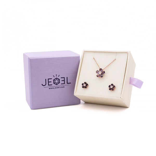 Iolite Flower Child Pendant + Earrings Set - JEOEL