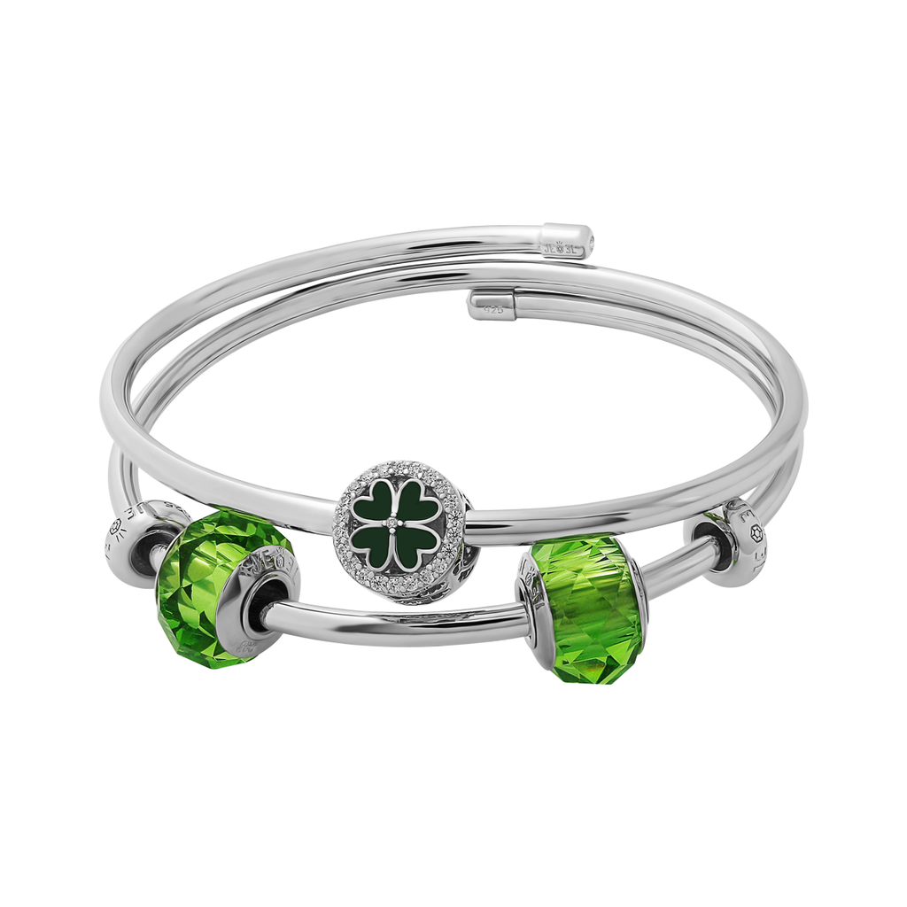 Crystal Green Clover Bangle Set - JEOEL