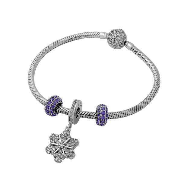 Purple Pave Pretty Snowflake Twinkle Set - JEOEL