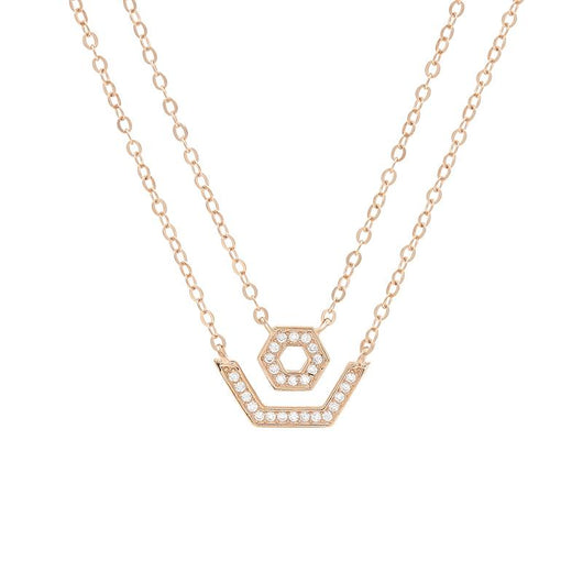 Glitter Pentagon Double Necklace (Pendant+Chain) - JEOEL