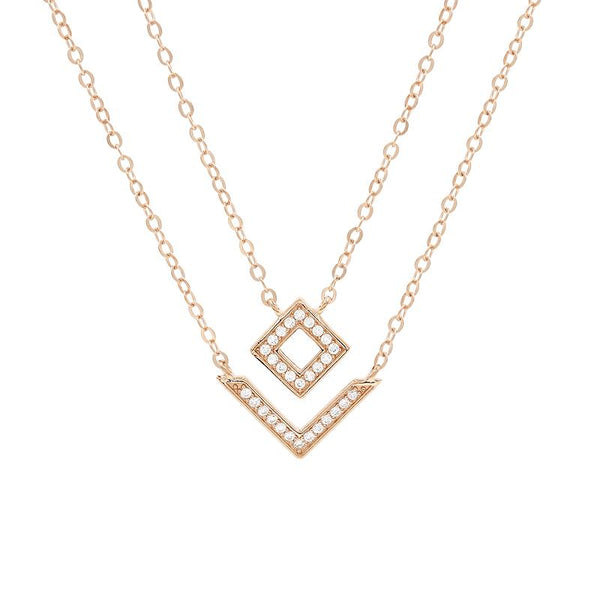 Glitter Square Double Necklace (Pendant+Chain) - JEOEL