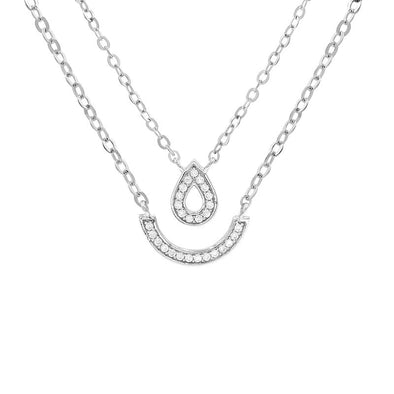 Glitter Waterdrop Double Necklace (Pendant+Chain)