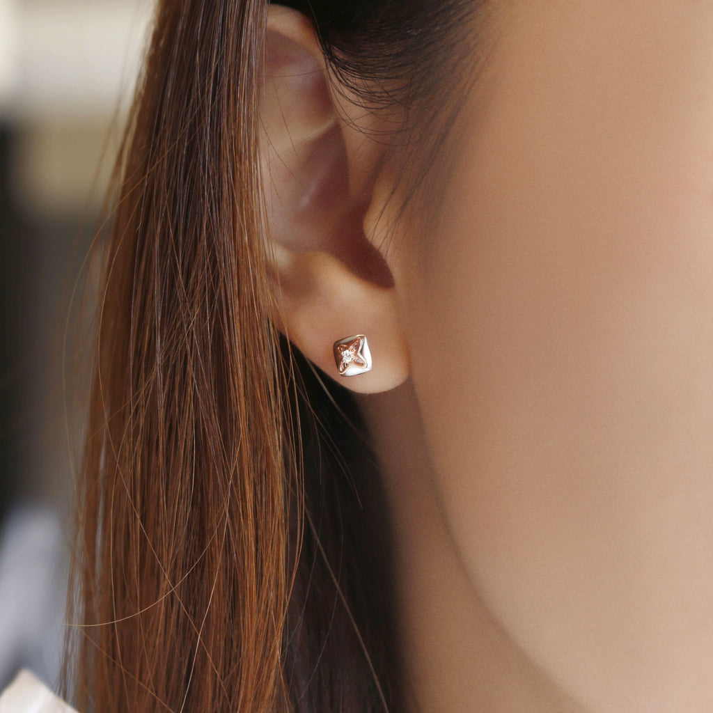 Diamond Cushion Earrings - JEOEL