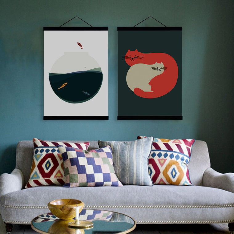 Fish Bowl and Cats: Vintage Wall Art