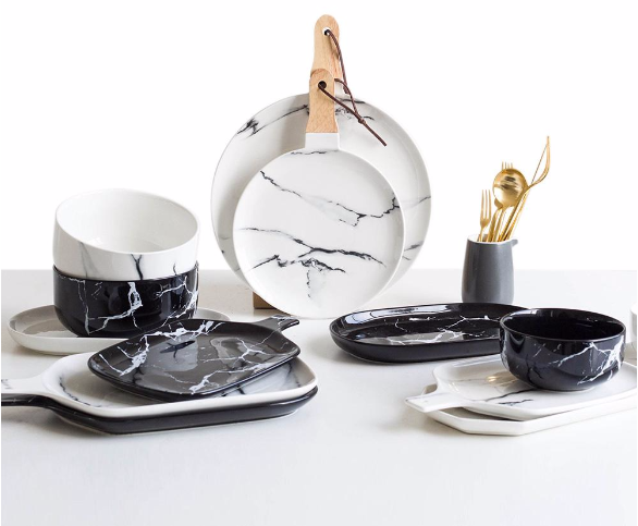 Black and White Marble Tableware