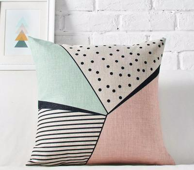 Geometric Pastel Pink & Turquoise Pillow covers collection