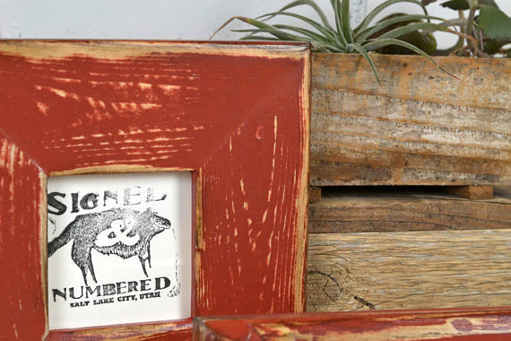 Wood Picture Frame Super Vintage Brick Red Finish