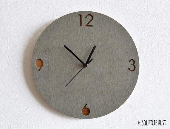 Concrete and Wood Wall Clock