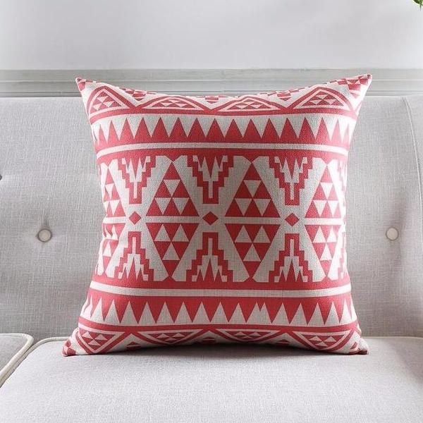 Geometric Coral & Gray Pillow covers collection