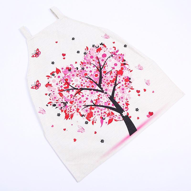 Apron with Romantic Flower Tree and Butterflies