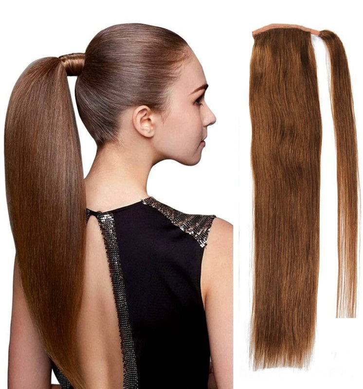 Light Brown 6 Ponytail European Remy Hair Extensions 12 To 26