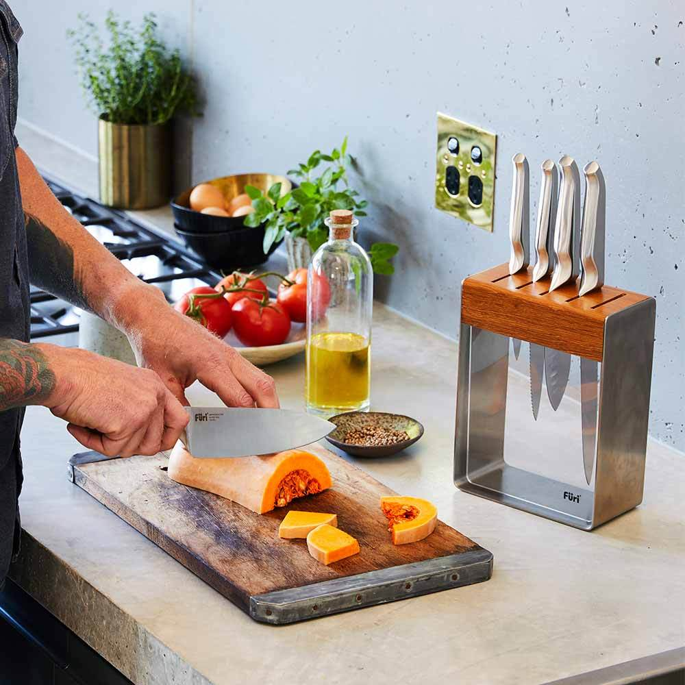 Furi Pro Teak Knife Block 5 Pc Set