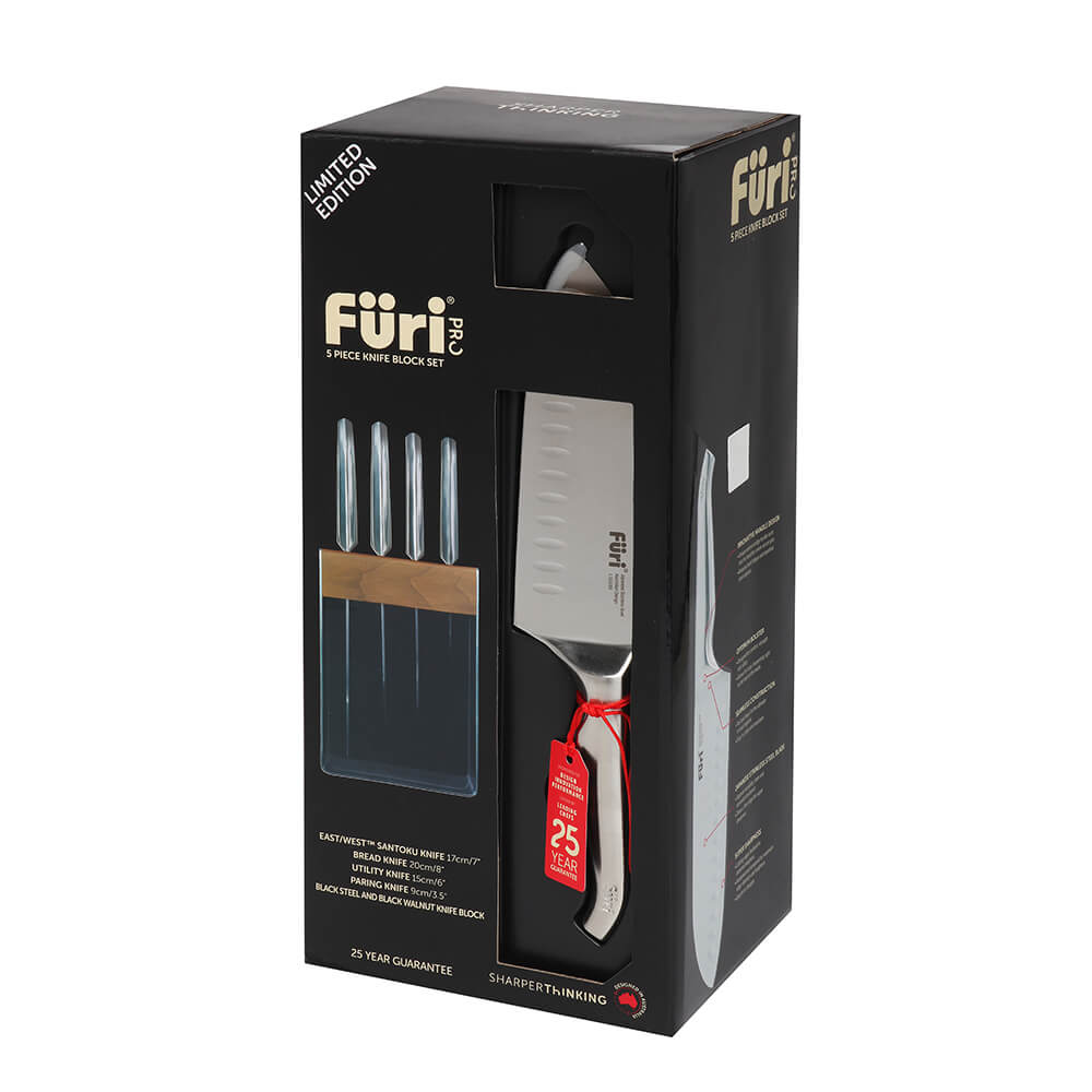 Furi Pro Limited Edition Walnut & Black Knife Block 5 Pc Set - House of Knives