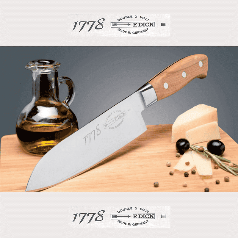 F. DICK 1778 Series Plumwood Santoku Knife 17cm - House of Knives