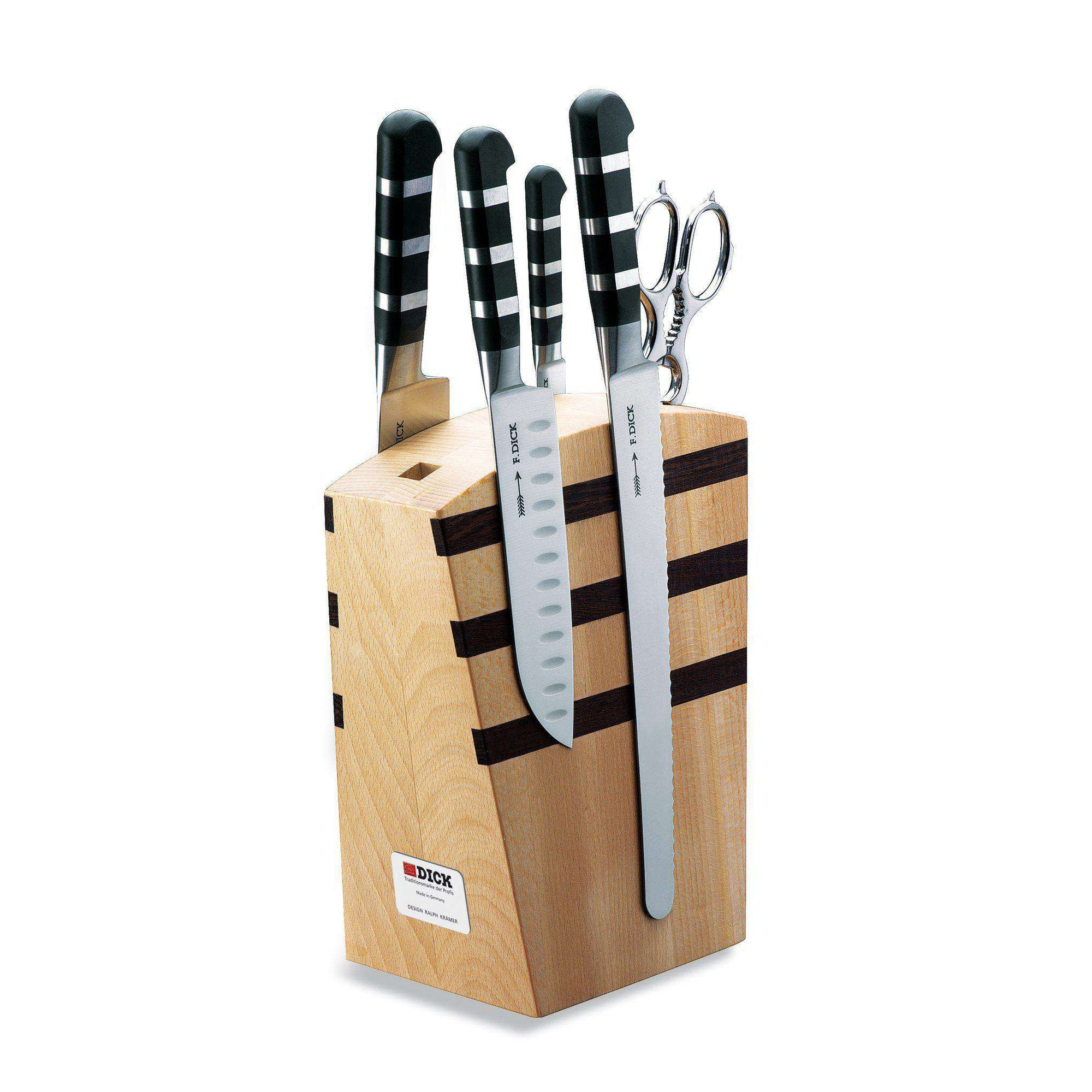 F DICK 1905 Series Magnetic Wooden Knife Block 5 Pc Set - House of Knives
