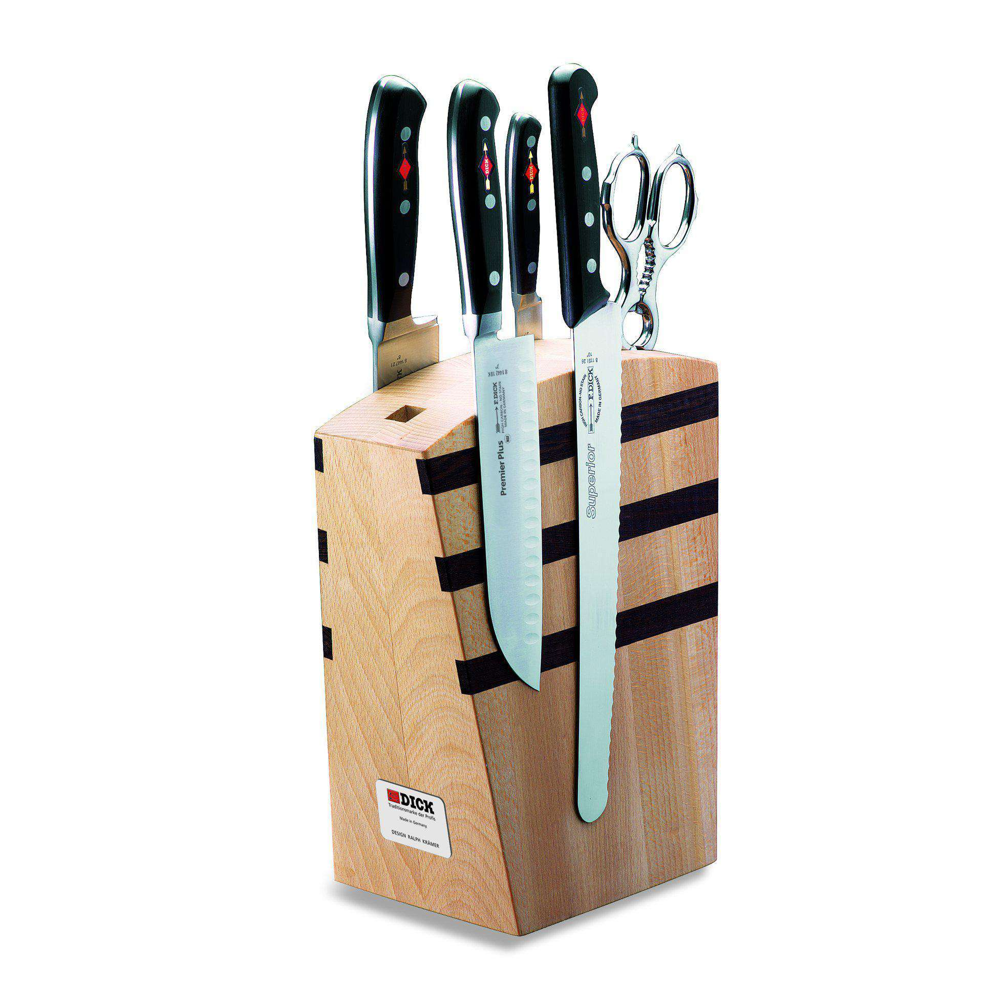 F. Dick Premier Plus Magnetic Wooden Knife Block 5 Pc Set - House of Knives