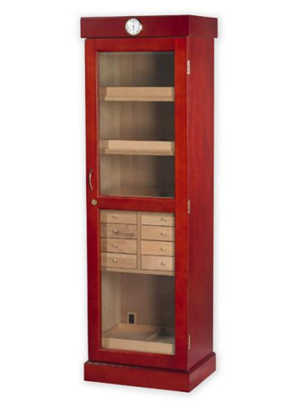 ... Tower Cabinet Humidor in Cherry with 4 shelf drawers 8 small drawers and one shelf ...  sc 1 st  Classy Home Bar & Tower Cabinet Humidor | 3000 cigars | Classy Home Bar