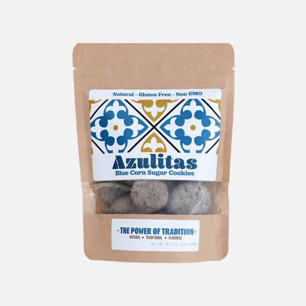 Azulitas: Organic Blue Corn Mexican Wedding Sugar Cookies - Pinole Blue