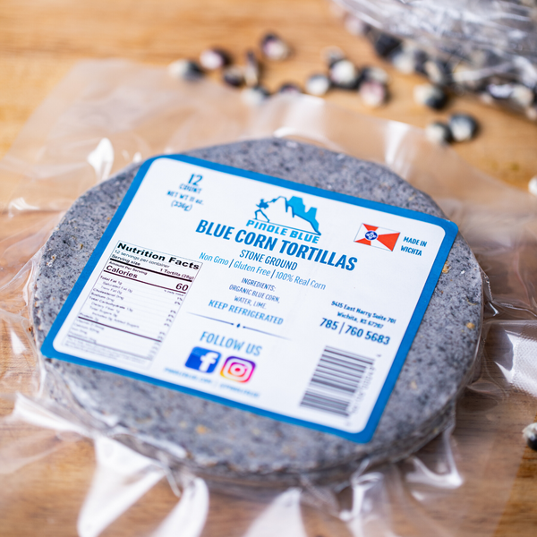 Traditional Stone Ground Blue Corn Tortillas - 24 pack - Pinole Blue