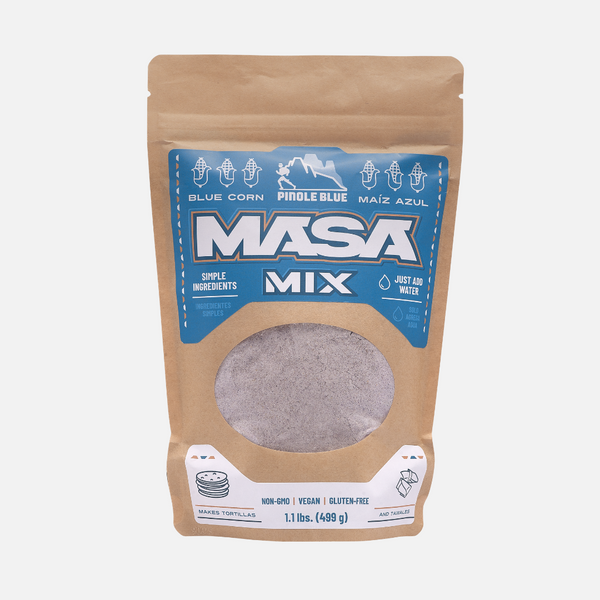 Instant Masa Mix - 1.1 LBS for homemade tortillas, tamales, gorditas and more - Pinole Blue Non GMO Gluten Free Vegan Friendly Blue Corn