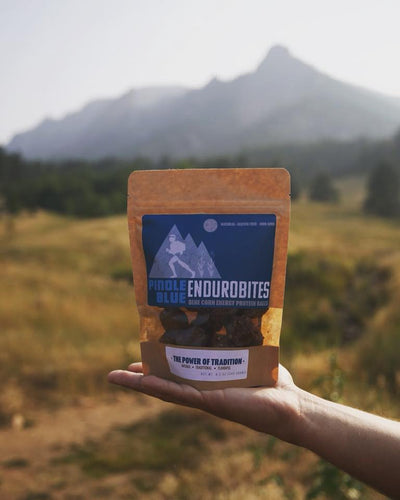 Pinole Blue - Enduro-Bites, Organic Blue Corn, All-Natural Energy Booster, Endurance Fuel, Antioxidants & Complex Carbs, Vegan Protein Snack, Peanut Butter No Bake, Gluten-Free (8.5 oz)