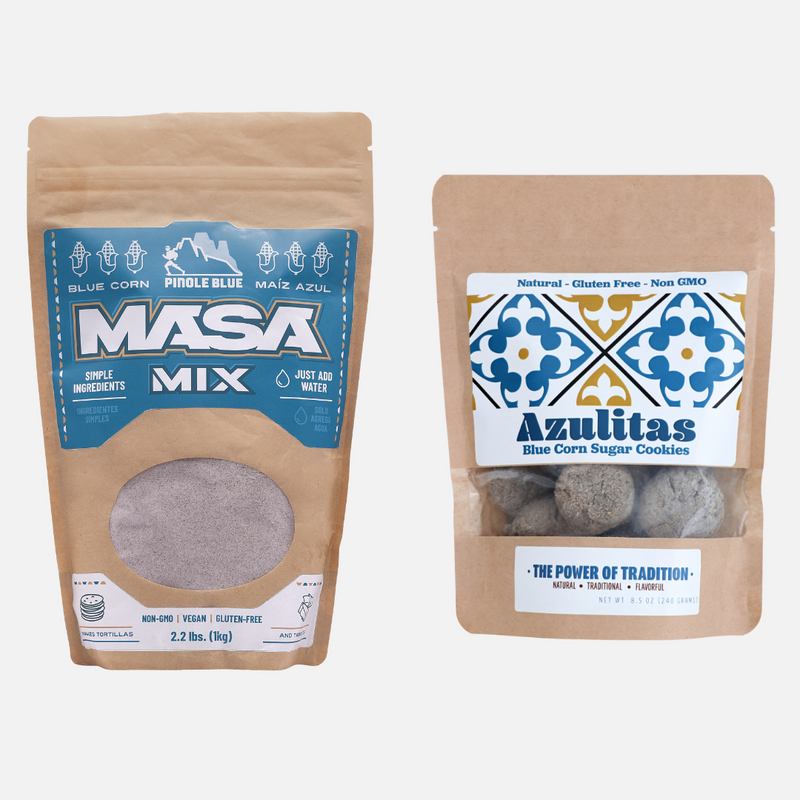Bundle of Masa Mix & Bag of Azulita Sugar Cookies - Pinole Blue