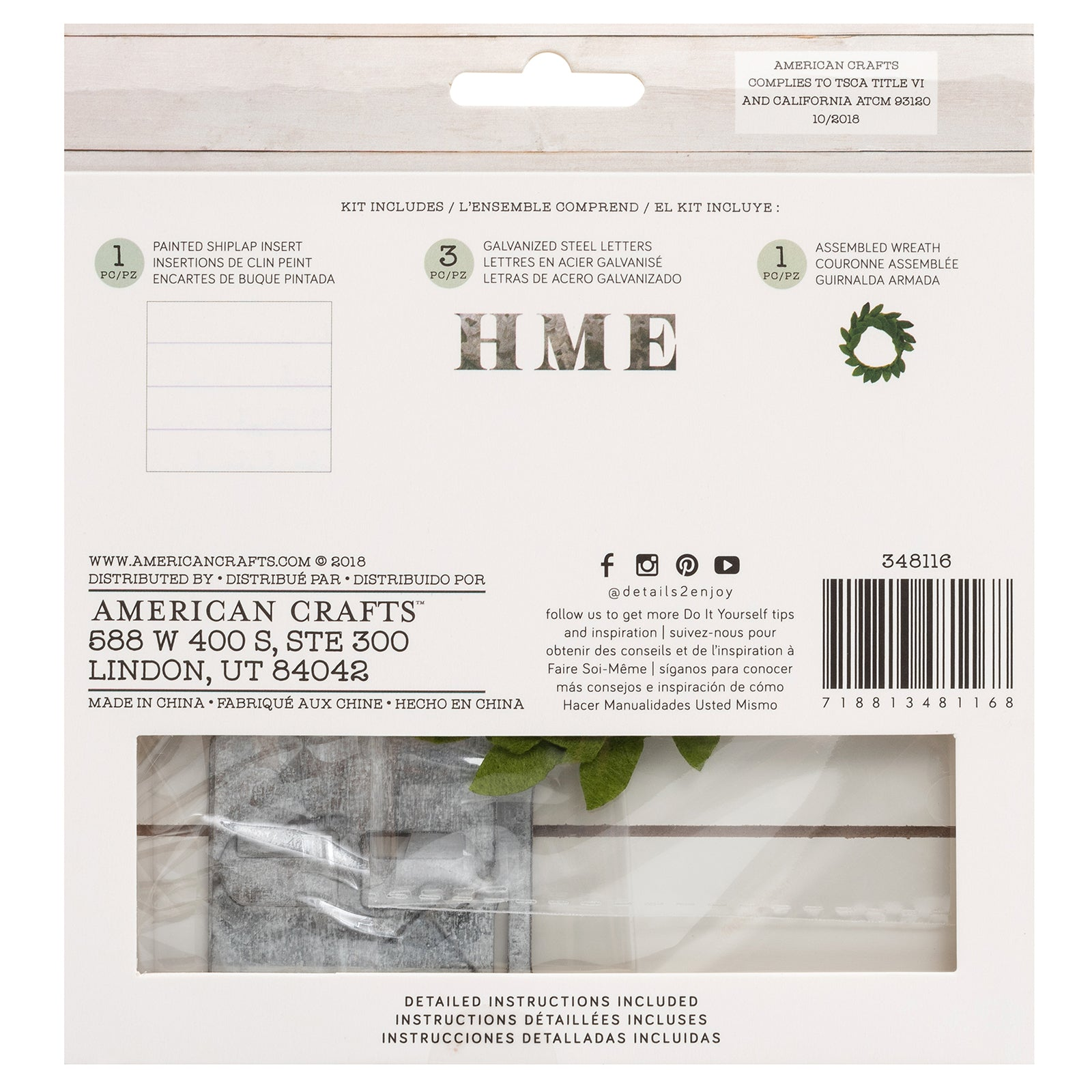 Home Wreath Kit | DIY Insert Kit | Size A | American Crafts