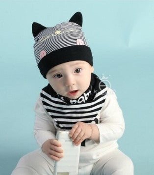 BIB + HAT CAT BABY BLACK