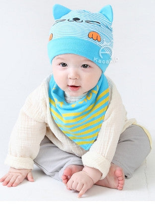 BIB + HAT CAT BABY BLUE
