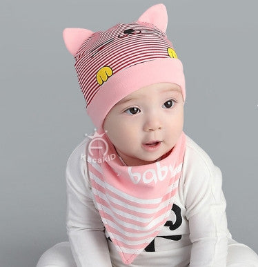 BIB + HAT CAT BABY PINK