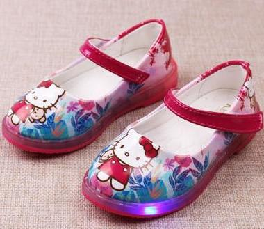 SEPATU COLORFUL HELLO KITTY LED-RED