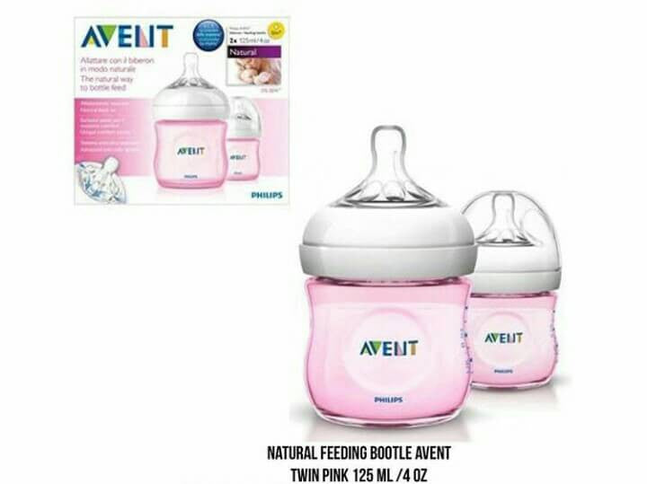 Natural Feeding Bottle Avent Twin Pink 125 Ml /4 oz