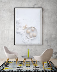 Eggs on white board