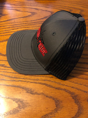 S.P. Horizontal Stamp Trucker Hat (Black/Charcoal/Red)